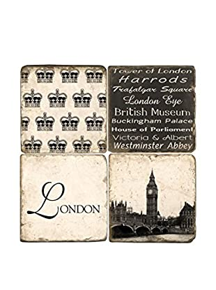 Studio Vertu Set of 4 Black & White London Tumbled Marble Coasters with Stand