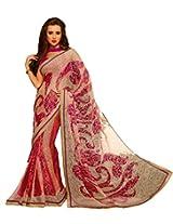 Pagli red with multicolor printed braso fabric saree