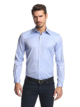 Nikky Men's Hand-Made Oxford Shirt (Blue Pinpoint)