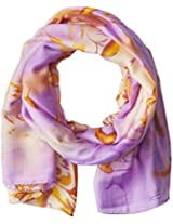 La Fiorentina Women's Abstract Floral Print Scarf with Swirls, Lavender Combo, One Size