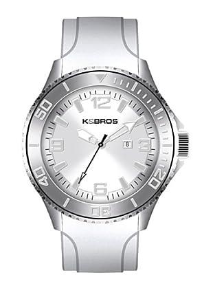K&BROS 9563-2 / Reloj de Caballero  con correa de caucho Blanco