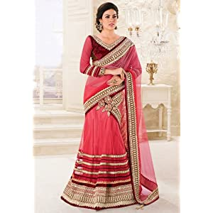 Shaded Rose Pink Net and Satin Lehenga Style Saree with Blouse