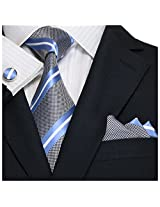 "Landisun Stripes Mens Silk Tie Set: Tie+Hanky+Cufflinks 18A45 Light Blue White, 3.25""Wx59""L"