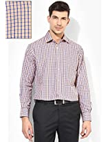 Blue Check Regular Fit Formal Shirt Peter England