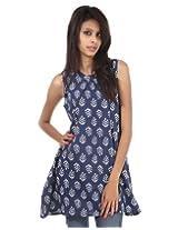 Blue Cotton Rajrang Printed Womens Tunic