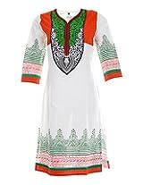 Vinorisa Girl's Cotton Regular Fit Kurti (White & Red, 46)