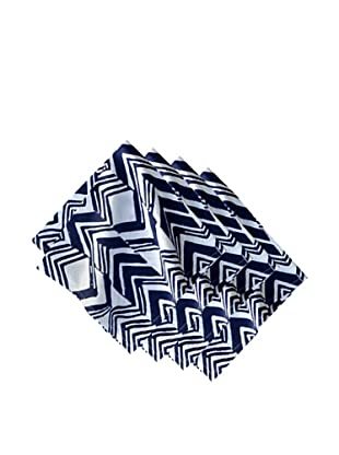 Couleur Nature Set of 4 Chevron Zag Napkins, Indigo