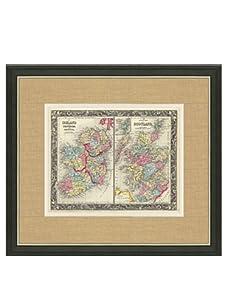 "Mitchell-Antique Map of Ireland & Scotland, 1860's-1870's, 21"" x 23"""