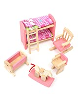 Wooden Doll Set Children Toys Miniature House Family Furniture Kit Accessories (Nursery)