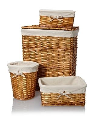 Creative Bath Wickerworks 4-Piece Hamper/Storage Set, Honey