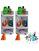 CiplaPlast Combo of Caddy Bathroom Corner Cabinet (Set of Two) & Multipurpose Container - White