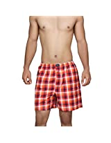 Clifton Men's Woven Shorts - Orange Red Checks - XX-Large