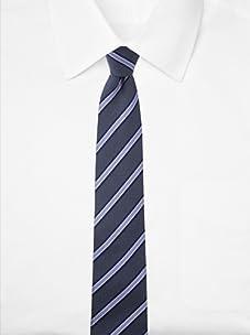 Aquascutum Men's Stripe Dot Silk Tie (Navy)
