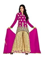 7 Colors Lifestyle Pink Coloured Embroidered Georgette Semi-Stitched Salwar Suit with Plazzo Bottom