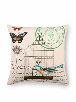 """Kathryn White Lecture Bluebird Pillow, Brown/Teal, 18"""" x 18"""""""