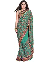 Exotic India Dynasty-Green Wedding Saree with Embroidered Paisleys and S - Green