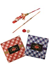 Skylofts Chocolate Check Boxes (set of 2) with rakhi, lumba & teeka combo