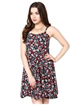 Heart print short strap dress