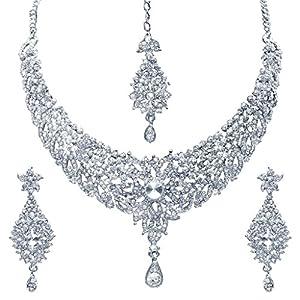 Sukkhi Splendid Rhodium Plated AD Stone Necklace Set For Women