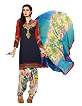 Inddus Women Blue & Red Embroidered Cotton Blend Dress Material