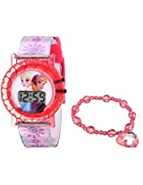 Disney Kids' FNF004T Frozen Digital Pink Watch with Bracelet Gift Set