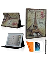 SAVEICON SAWE (TM) Eiffel Tower Vintage Retro Classic Classic European book London Bridge Effiel Tower Bible style PU Leather Flip Folio Case Cover with Stand Sleep Function For the New iPad 2 3 4 Smart Cover + 1 Stylus, 1 Sc