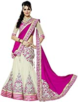 Clickedia Women Net Pink embroidered Saree style Lehenga With Dupatta and Blouse piece