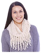 Winter Warm Knitting Fringed Infinity Loop Scarf for Men or Women