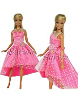 Handmade Princess Evening Party Wears Mini Dress Clothes For Barbie Doll