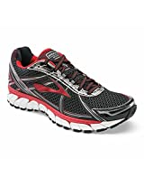 Brooks Men's Adrenaline Gts 15 Running Shoe Black / High Risk Red / Anthracite and Sock Bundle 12 / 2E