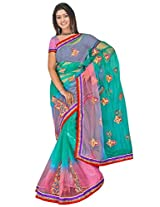 Sehgall Saree Indian Ethnic Professional Net Shaded with Embroidery in Saree and Border
