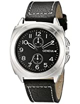 Geneva Men's 2426C-Gen Silver-Tone Watch - Black Faux Leather Band