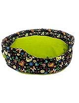 Snug Hug Dog Round Bed Black /Green (41 x 18 cm)
