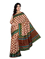Somya Women's Bhagalpuri Silk Printed Red Saree