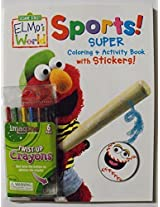 Bundle C Sesame Street Elmos World Sports 96 Page Coloring & Activity Book With Stickers. Plus One Pack Of Twist Up Crayons.