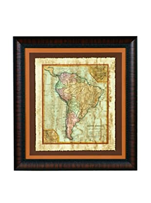 Bassett Mirror Distressed Map II Framed Print