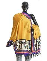 DollsofIndia Yellow Bhagalpuri Silk Chunni with Tribal Design and Multicolor Border - Silk Tussar - Yellow, Multicolor