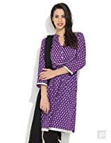 Playful Paisleys Printed Kurta -Purple-S
