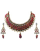 Vivanta Pink Gold Plated Necklace And Earrings Set For Women (VD-N121)