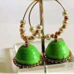 Paper Jwel_Green with pearl Jhumka