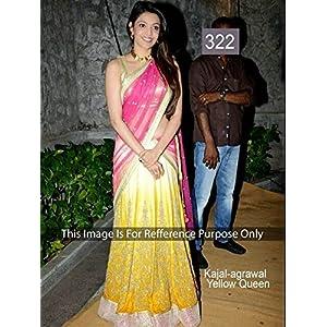 Kajal Agarwal Yellow and Pink Faux Georgette Bollywood Lehenga