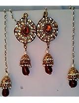 All Time Jewels Kashmiri Pearl String Long Golden Earrings - ER038