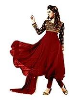 782023_Fancy Frock Style Designer Red Anarkali Suit