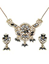 15.50 Grams Black Cubic Zirconia & White Cubic Zirconia Gold Plated Brass Pendant Set