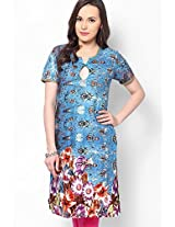 Cotton Blend Blue Printed Kurti