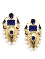 Bindhani Wedding Blue Stone And Faux Pearl Earrings For Women