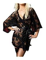 Gojilove Women's Polyester Black Kimono Style Lace Sleepwear