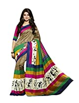 Brown Color Art Bahgalpur Silk Saree with Blouse 12543