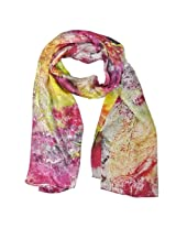Wrapables Luxurious 100% Charmeuse Silk Long Scarf with Hand Rolled Edges, Expressionism Violet