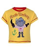 Little Kangaroos Half Sleeves T Shirt Yellow - Pirate Monkey Patch